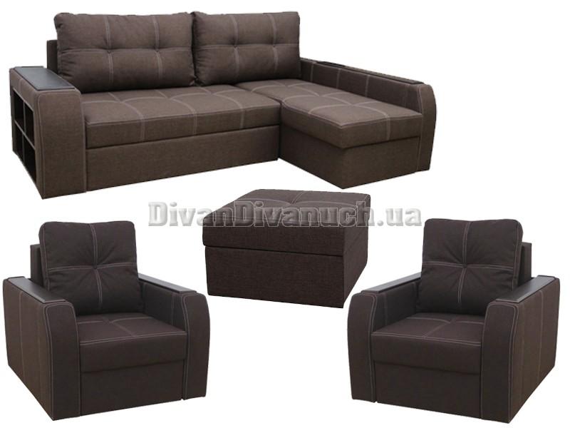 комплект угловой диван диего два кресла кровати пуф фабрика